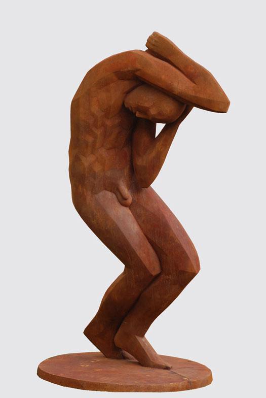Kunsstoffguss-Skulptur großer Stürzender Polymergips von Marco Flierl