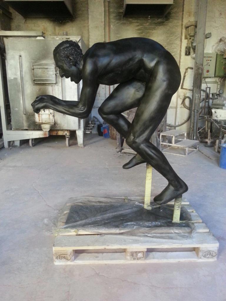 Kunsstoffguss-Skulptur Radfahrer Sebastian Zimmermann